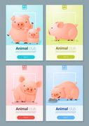 Animal banner with Pigs for web design - stock illustration