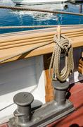 Blocks and tackles of a sailing vessel - stock photo
