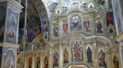 Interior of Kiev Pechersk Lavra, iconostasis Stock Footage