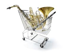 Supermarket trolley, full of wind musical instruments. Stock Illustration