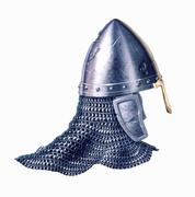 Middle age warrior helmet, on white background. Stock Illustration