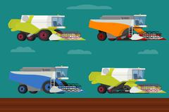 Vector set of agricultural modern combine harvesters collection. - stock illustration