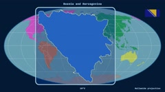 Bosnia and Herzegovina - 3D tube zoom (Mollweide projection). Continents - stock footage