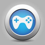 blue metal button with gamepad - stock illustration