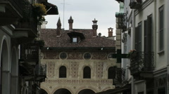 View of Piazza Ducale decoration from a street, Vigevano, PV, Italy - stock footage