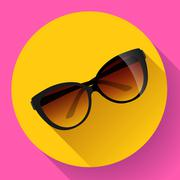 Fashionable trendy woman sunglasses on a colorful summer background. - stock illustration
