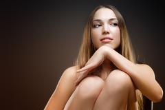Photo of young magnificent woman with long hair Stock Photos