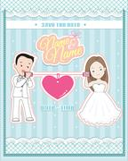 wedding invitation card,  cute couple talking through a string phone - stock illustration