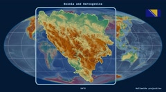 Stock Video Footage of Bosnia and Herzegovina - 3D tube zoom (Mollweide projection). Relief