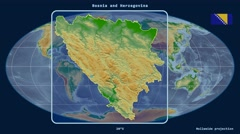 Stock Video Footage of Bosnia and Herzegovina - 3D tube zoom (Mollweide projection). Bumps shaded