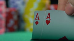 Poker champion showing master class at casino, gambler's point of view Stock Footage