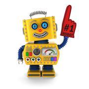 Happy yellow toy robot Stock Illustration