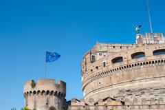 Castel sant angelo in Rome european famous medieval landmark - stock photo