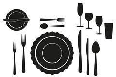 set of tableware on white background - stock illustration