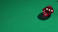 Throwing dice in slow motion, gambling in casino. Winning combination, fortune Stock Footage
