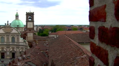 Revealing shot of Cathedral and Piazza Ducale, Vigevano, PV, Italy Stock Footage