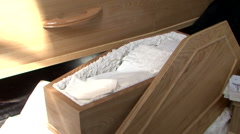 baby child coffin at funeral - stock footage