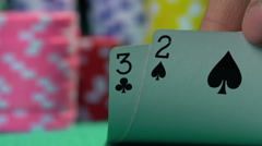 Person having bad combination in poker, weak hand. Losing money, bankruptcy Stock Footage