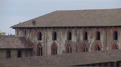 Panorama of Castello Sforzesco and tree, Vigevano, PV, Italy Stock Footage
