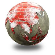 Asia on brick wall Earth Stock Illustration