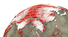 Asia on brick wall Earth - stock illustration