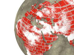 Middle East on brick wall Earth - stock illustration