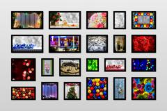 Asymmetrical mosaic mix collage of New Year photos of different places, objec Stock Photos