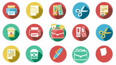 Business and Office Flat Icons Set. 4K. Stock Footage
