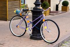 "Decorated purple bicycle ""Back to school"" Stock Photos"