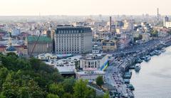 Kiev, Ukraine - August 24, 2015: Europe city capital with river view panorama Stock Photos