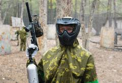 Kiev, Ukraine - April 9, 2016: Paintball team during the game - stock photo