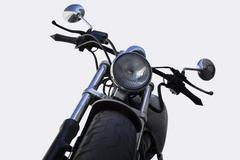 White chrome motorcycle isolated on white Stock Photos