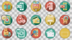 Business and Sales Flat Icons Set. 4K. Alpha Channel Stock Footage