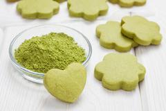 Homemade matcha green tea shortbread cookies Stock Photos