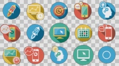 Business and Startup Flat Icons Set. 4K. Alpha Channel Stock Footage
