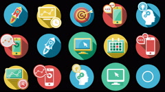 Business and Startup Flat Icons Set. 4K. Stock Footage