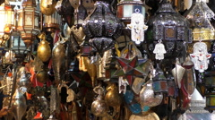 Traditional handcrafted ornamental Moroccan lamps and lanterns - stock footage