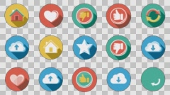 Internet and Web Flat Icons Set. 4K. Alpha Channel Stock Footage