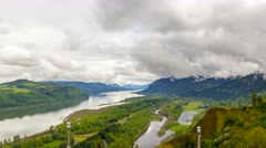 Time lapse of clouds over Columbia River Gorge along  i84  in Portland Oregon 4k Stock Footage