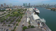 Aerial video Miami cruise ships 4k - stock footage