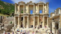 Celcius Library of Ephesus Ancient City Stock Footage