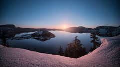 Sunrise, landscape time lapse Crater Lake National Park, Oregon, Winter Stock Footage