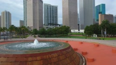 Bayfront Park fountain Downtown Miami rising Stock Footage