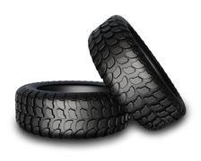 New tires for car isolated on white background. - stock illustration