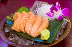 Fresh salmon sashimi Stock Photos