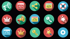 Internet and Web Flat Icons Set. 4K. Stock Footage