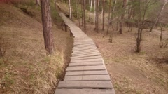 Walking on the wooden bridge. Wooden trail across spring forest. Stock Footage
