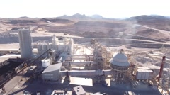 A cool aerial shot of large industrial mining plant Stock Footage