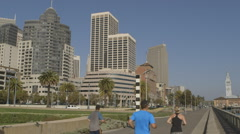 San Francisco downtown morning run at the bay foreshore - stock footage