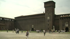 Milan, Italy – May 2013: Panorama of Castello Sforzesco from the courtyard Stock Footage